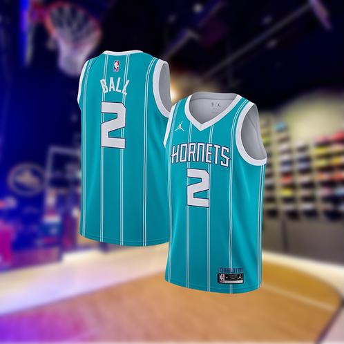 Jordan NBA Hornets Icon Edition LaMelo Ball Swingman Jersey with Sponsor Logo