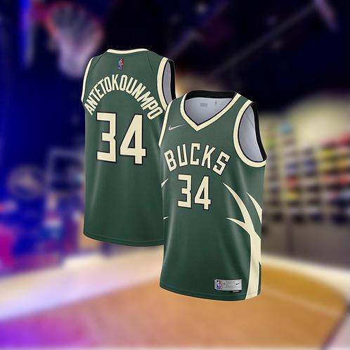 Nike NBA Bucks Earned Edition Giannis Antetokounmpo Swingman Jersey