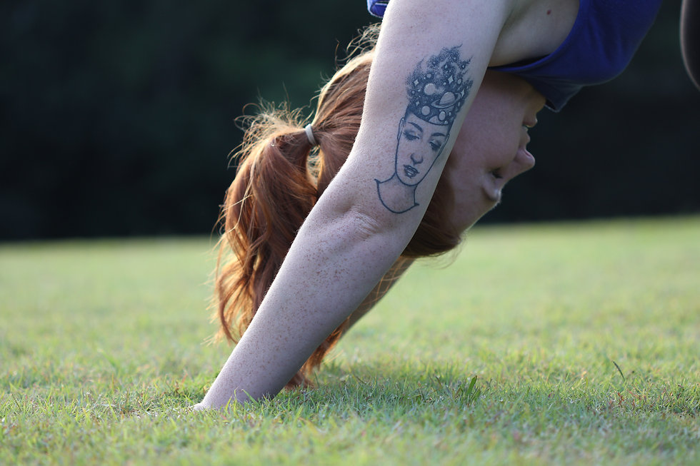 Downward Dog. Head in the stars tattoo