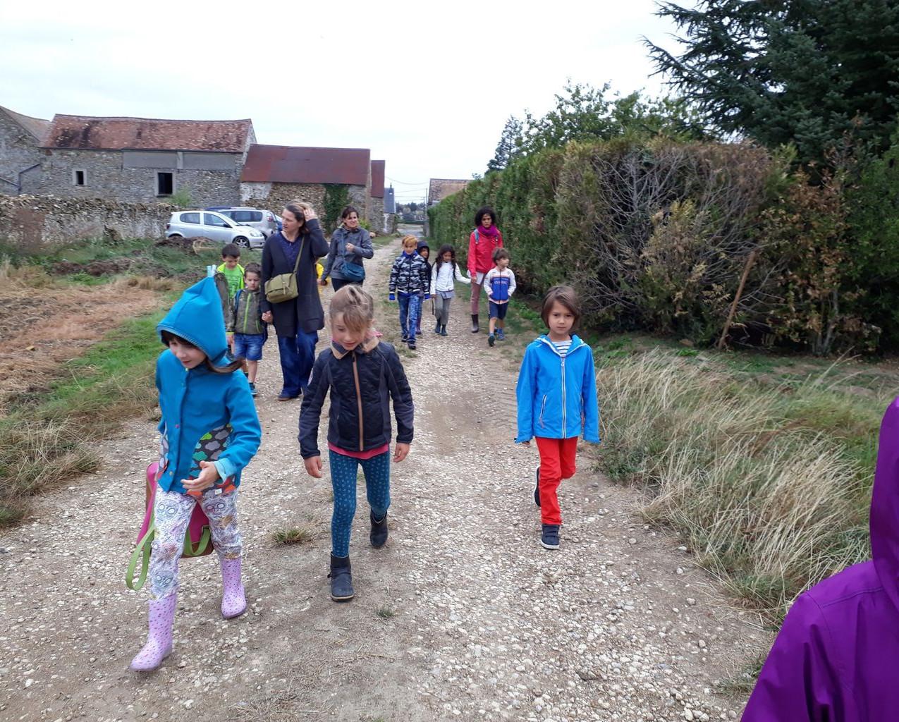 Départ à pied pour le château de St Jean de Beauregard