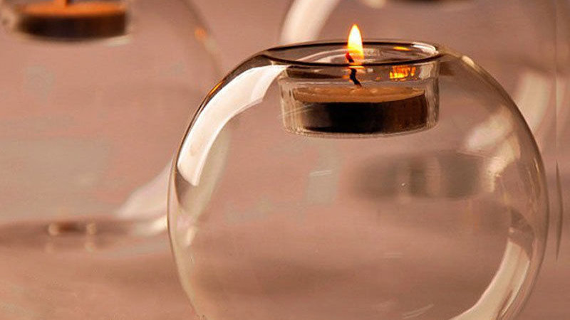 Hollow Glass Round Candle Holder