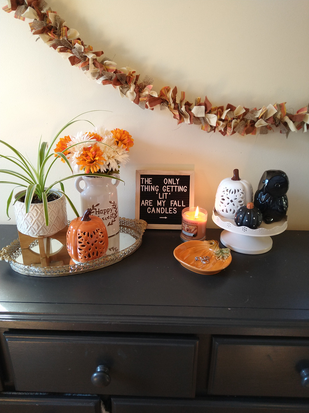 fall home decor and candles