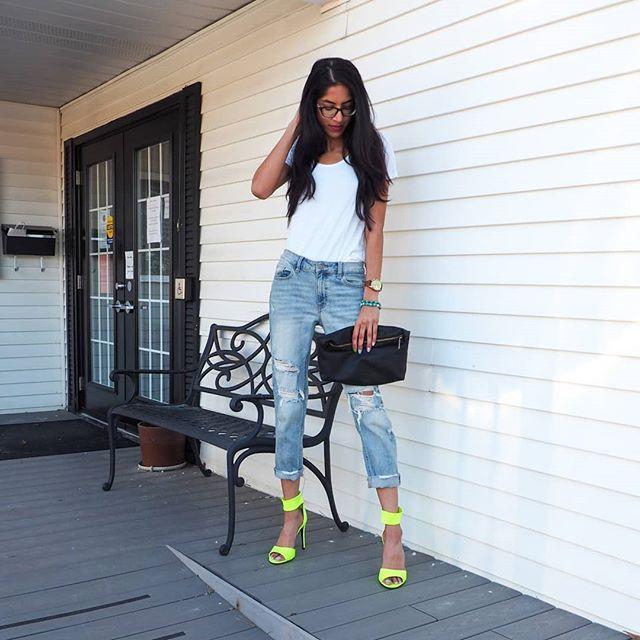 neon high heels and boyfriend jeans