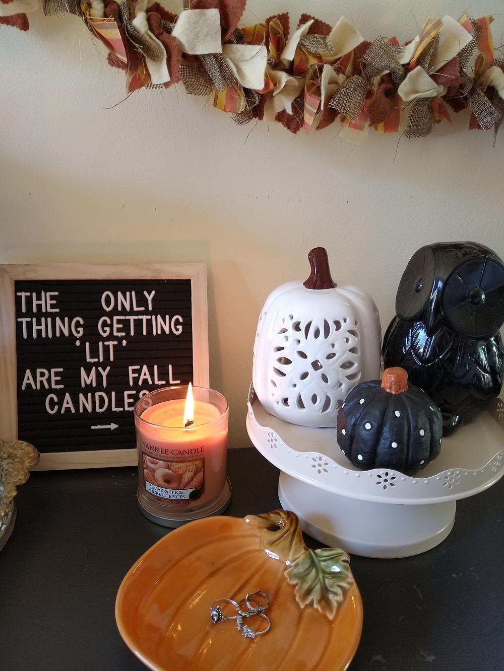 fall home decor 2020, candals , owls, pumpkins