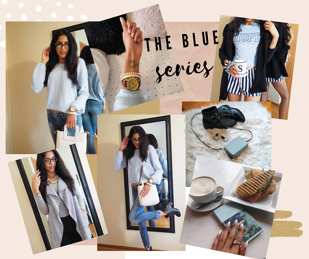blue outfit ideas, cafe photo, watches , coffee