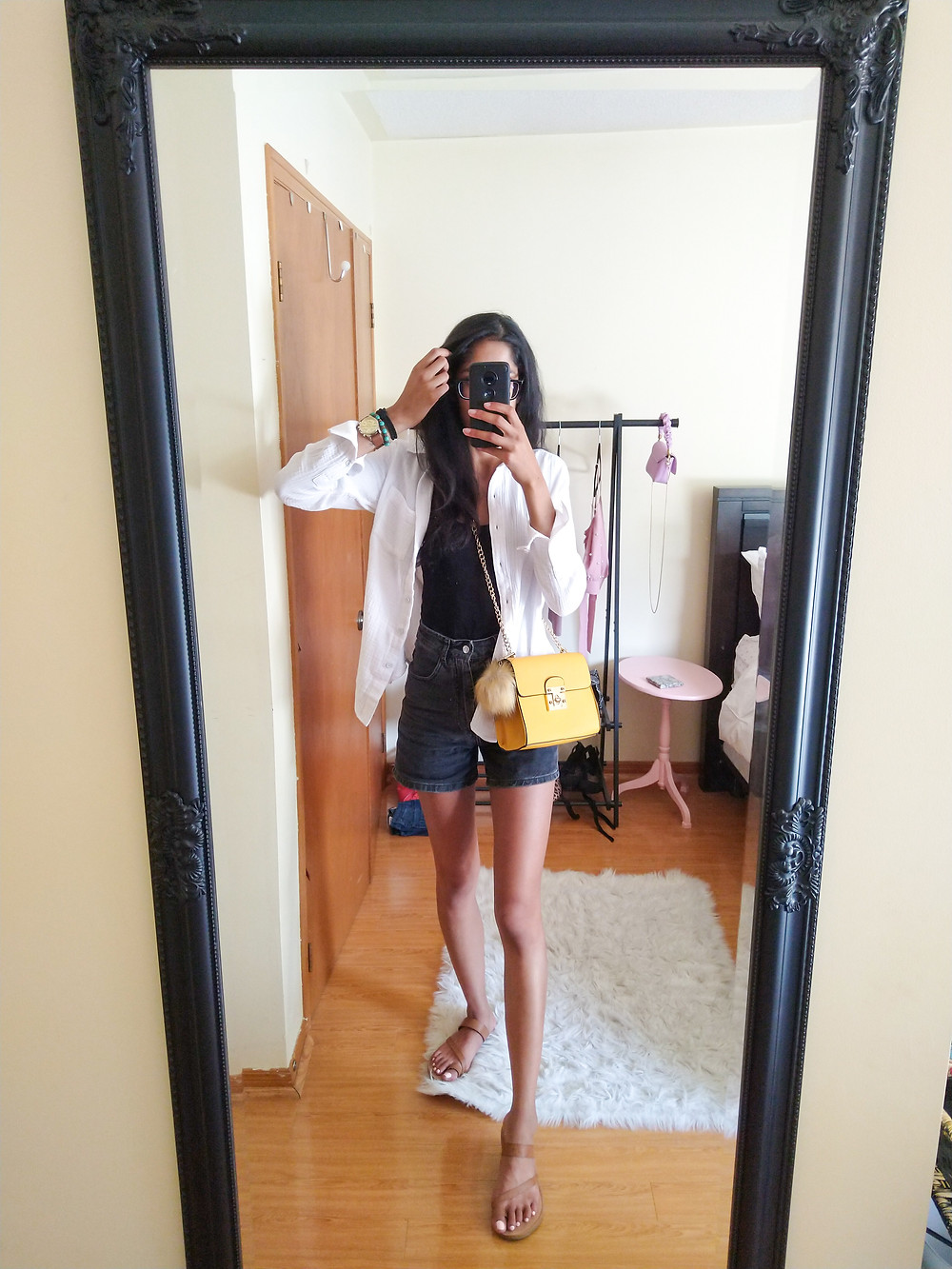 SPRING STYLE YELLOW BAG AND WHITE BLOUSE