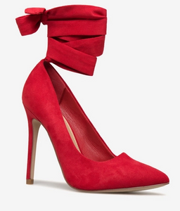 red pumps with bow