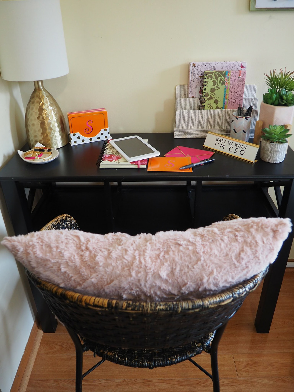 womans office desk blush pink and gold accents