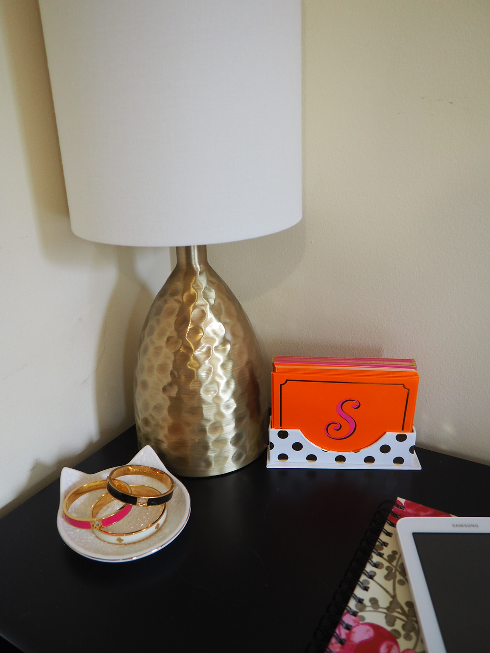 gold lamp and kate spade jewelry
