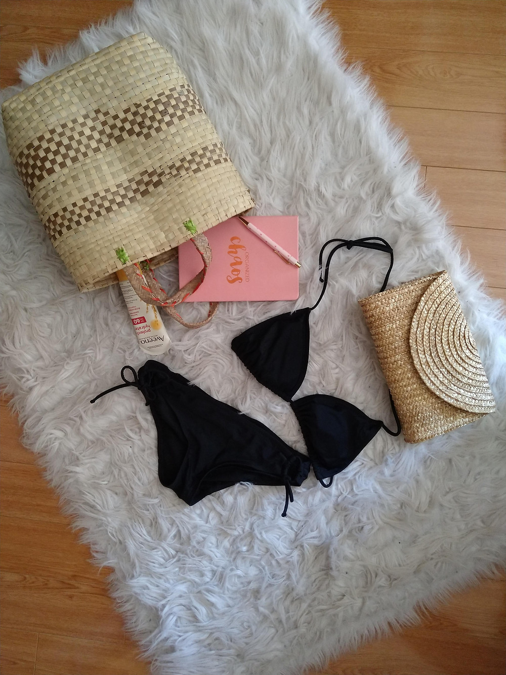 swim suits and beach bags