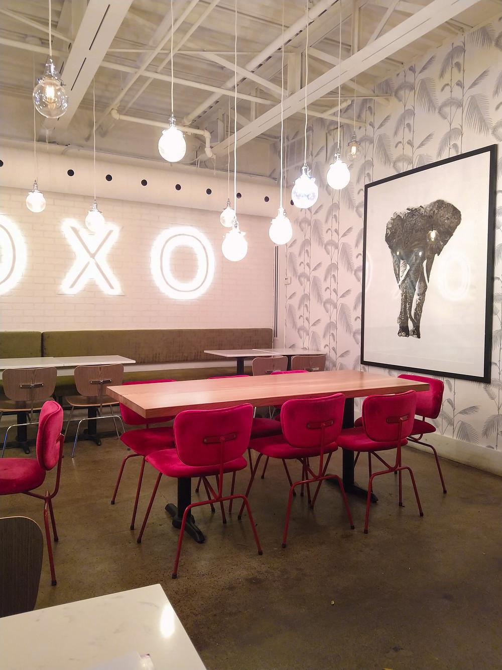 decor of a pink restaurant
