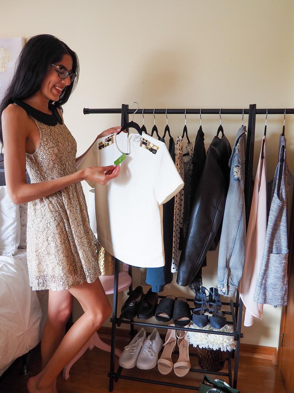 woman shopping in her closet