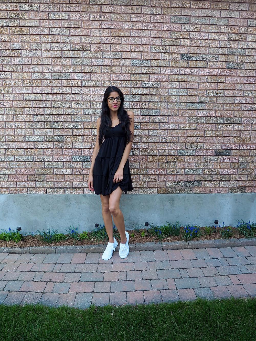 woman in black summer dress