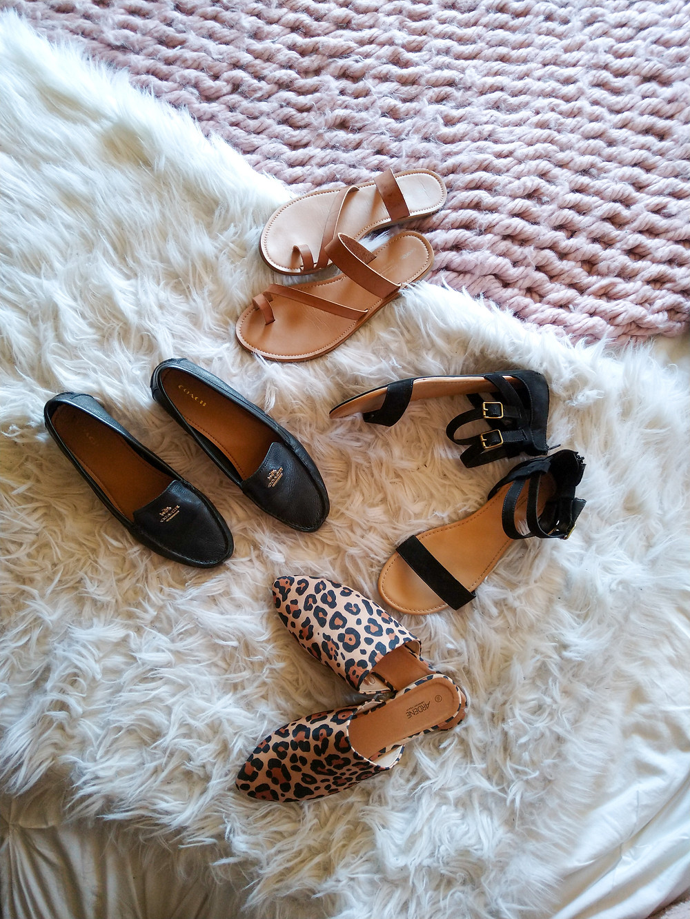 flatlay of shoes, heels and sandals
