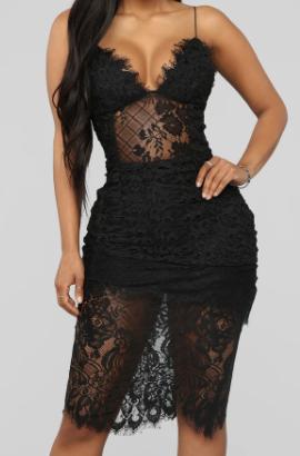 sexy black lace woman's dress