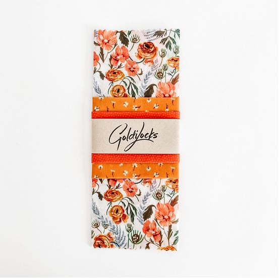 Goldilocks Beeswax Wraps Golden Floral