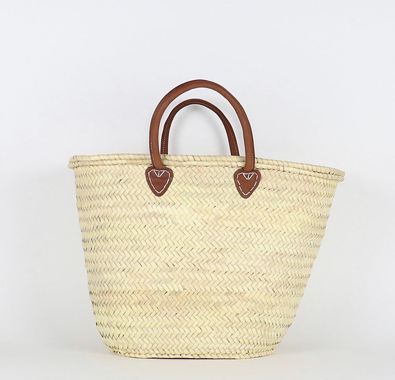 Santiago French Basket with Leather Handle - Large