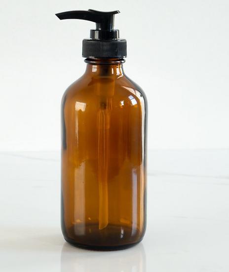 Amber Glass Pump 8oz (237ml)