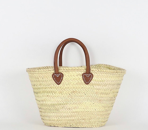 Santiago French Basket with Leather Handle - Medium