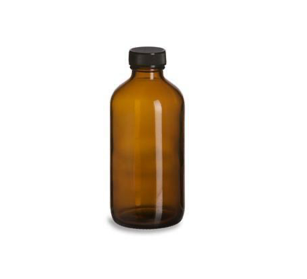 8 oz Amber Glass Boston Round Bottle with cap