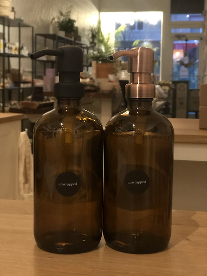 Amber Glass Bottle 16oz with bird head pump