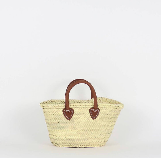 Santiago French Basket with Leather Handle - Small
