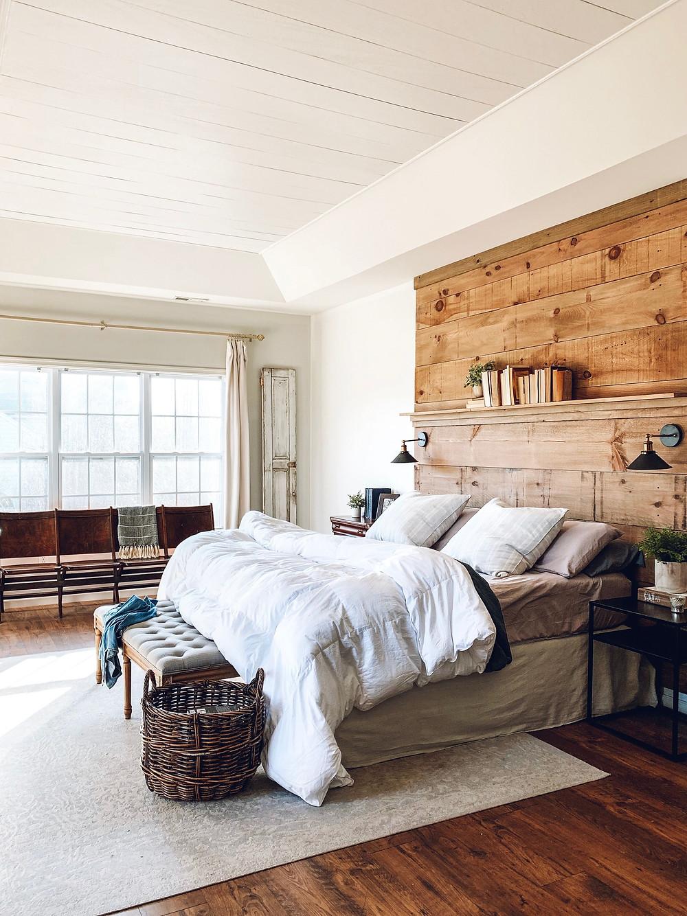 the simple farmhouse, master bedroom, how to dye curtains, drop cloth curtains, farmhouse decor, DIY farmhouse decor