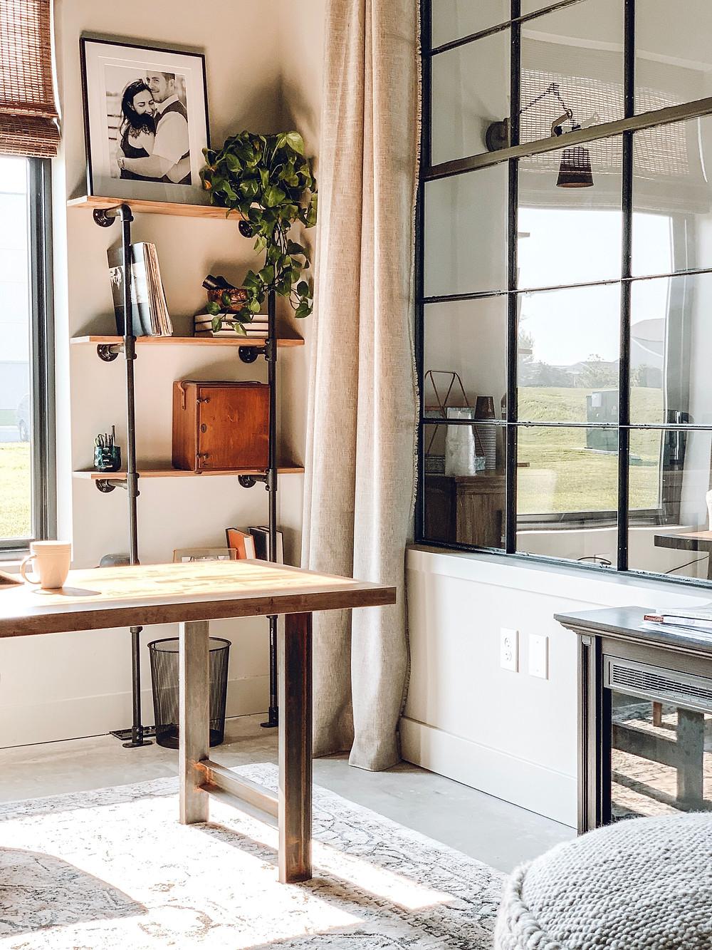office makeover, the simple farmhouse, open shelving, industrial modern shelving, simple farmhouse, pipe shelf, diy shelf