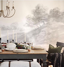 dining room, farmhouse dining room, anewall, wall mural, modern farmhouse, the simple farmhouse, home decor, fall table, fall tablescape, thanksgiving table