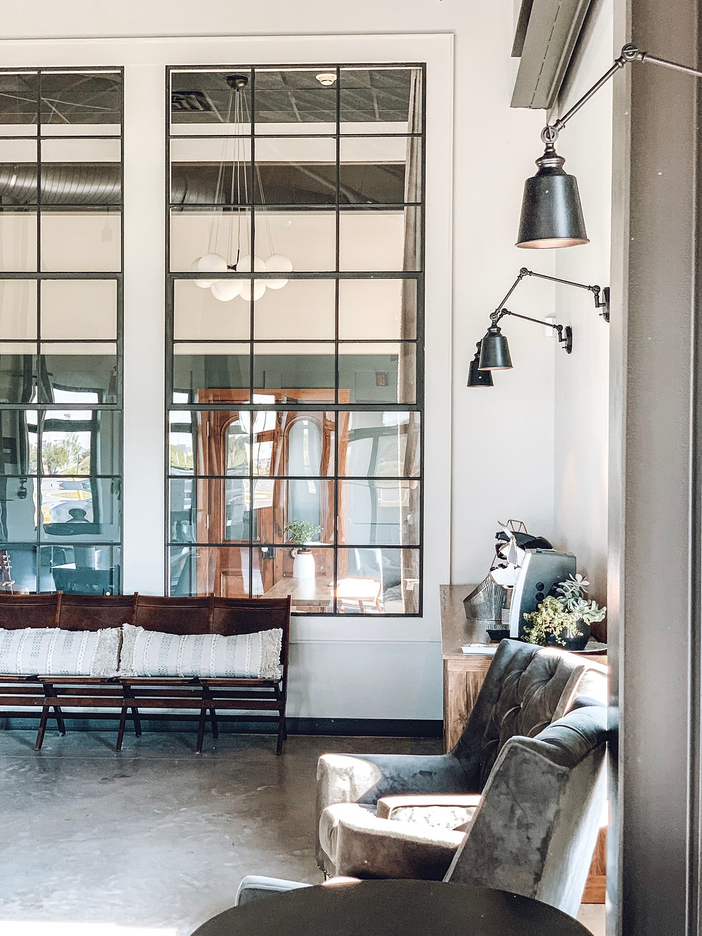 reclaimed steel windows, the town church delaware, the simple farmhouse, simple farmhouse, industrial design, office makeover, behr midnight in NY, apartment therapy