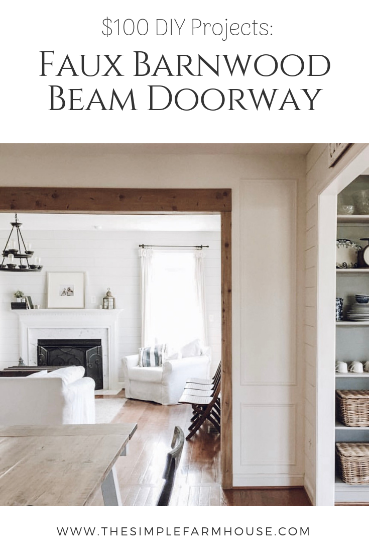 faux barnwood beam, the simple farmhouse, rustic faux beam