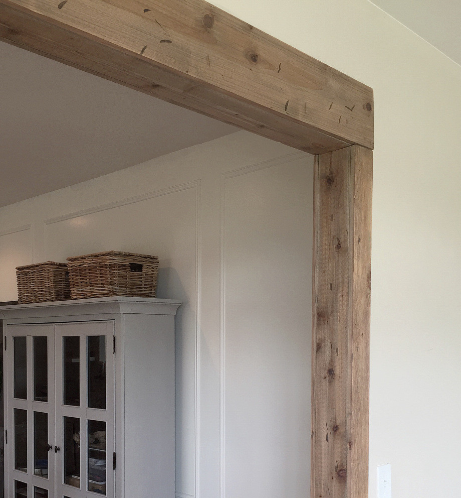 diy faux barnwood doorway, rustic barnwood doorway, farmhouse decor, the simple farmhouse, faux beam, rustic beam