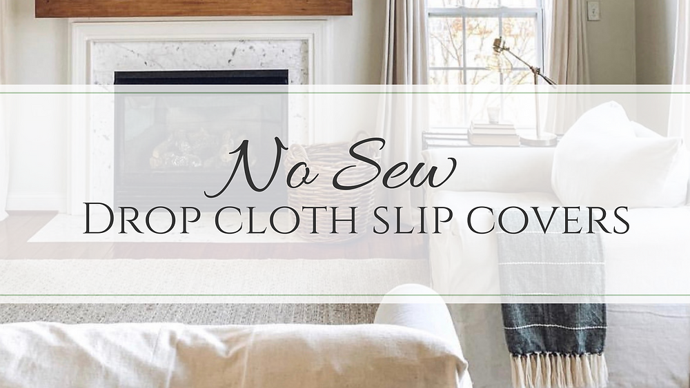 No sew slip cover, diy slip cover, drop cloth slip cover, bleached drop cloth