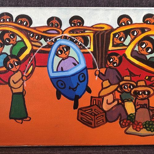 Scène d'Ethiopie - Tableau 2017 par un peintre éthiopien
