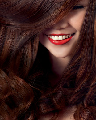 Beautiful smile model with silky hair,co