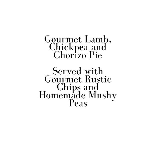Gourmet Lamb, Chickpea and Chorizo Pie (Friday)