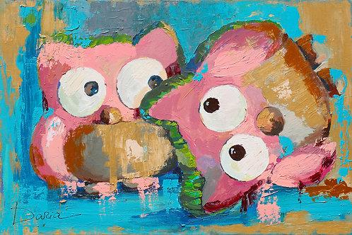 """OWLS FOOL AROUND (61x91.5 / 24x36"""")"""