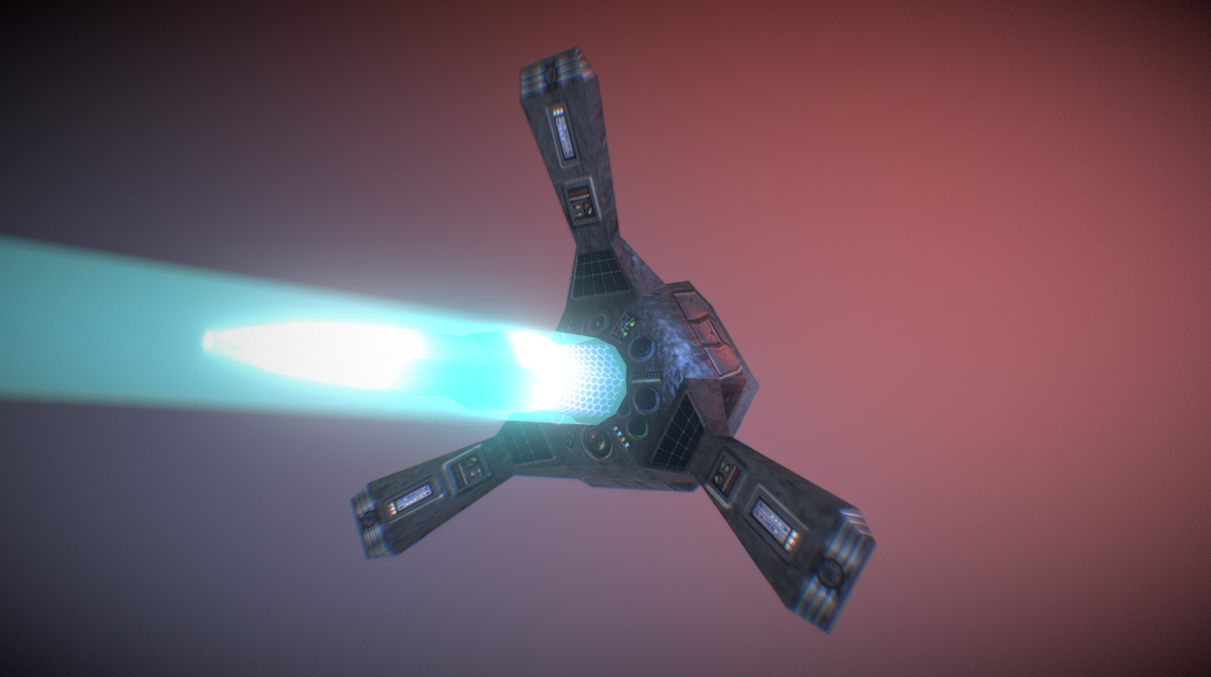 Drone (R3-laser gun) Low-poly 3D model