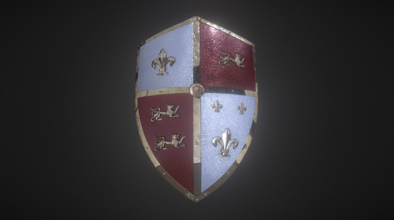 Medieval Royal Crusader Knight Armor Shield