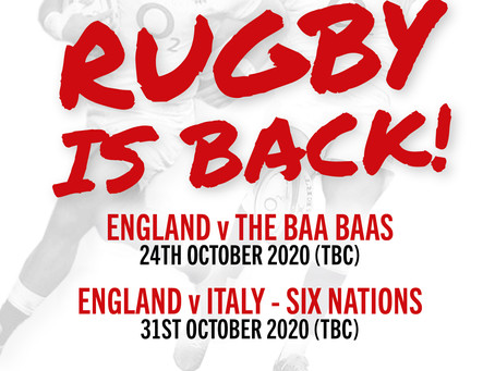 RUGBY WEEKENDER 24TH AND 25TH OCTOBER!