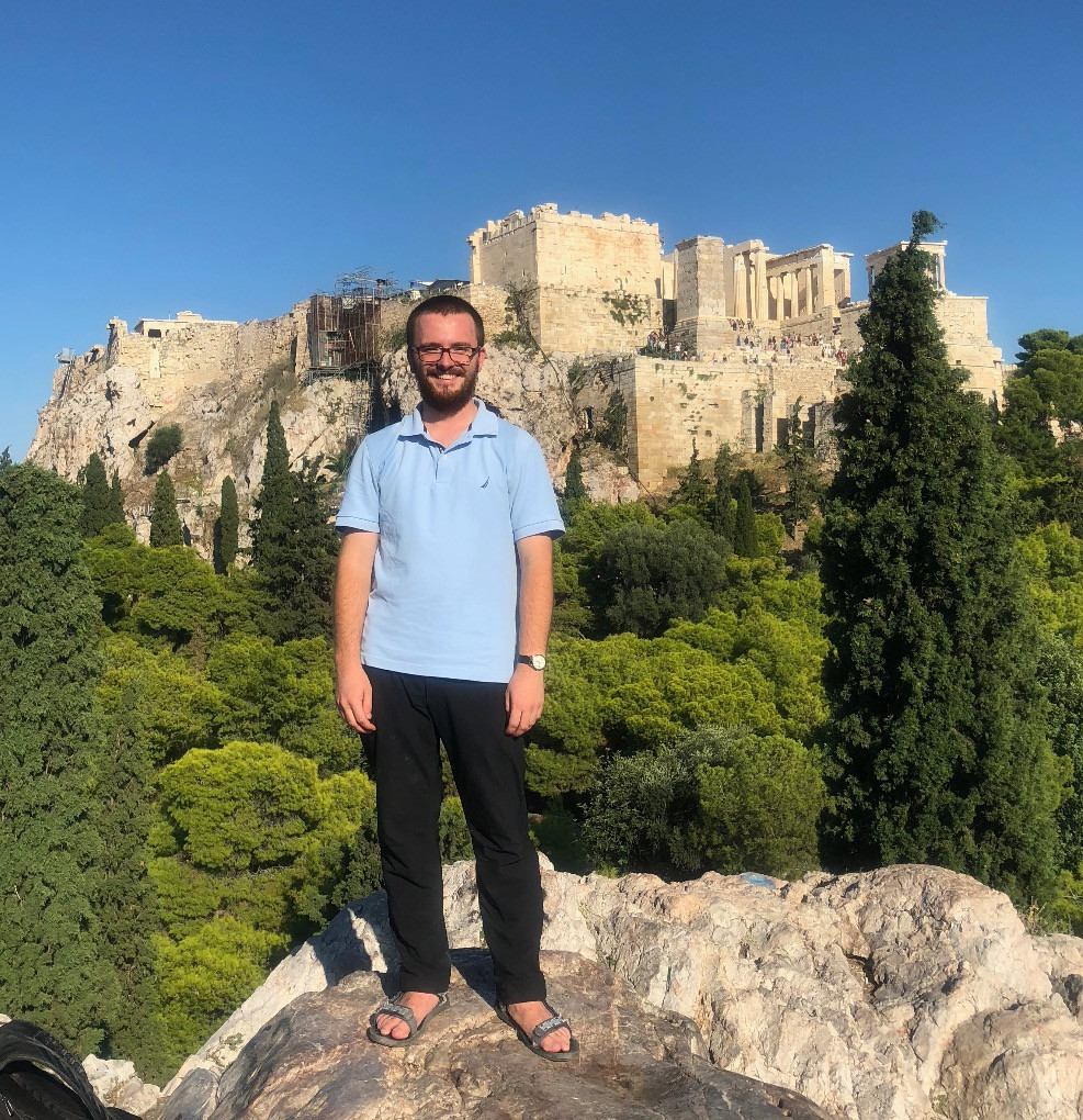 Standing on Mars Hill/Areopagus (see Acts 17:19-34) with Athens Acropolis in background