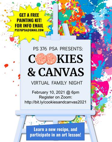 Cookies & Canvas Virtual Family Event - Wednesday, 2/10 - Mark Your Calendar!
