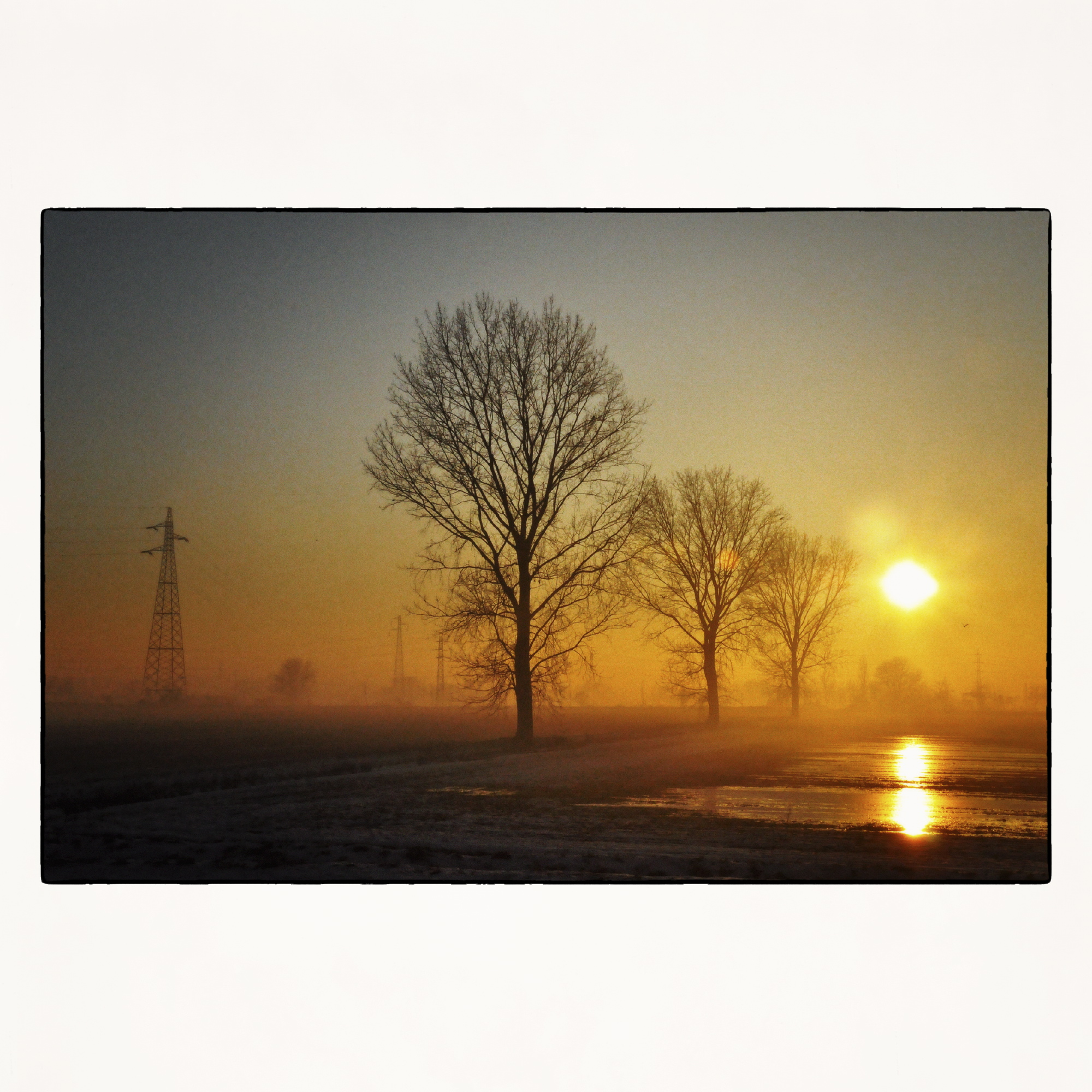 20x20 Foggy winter sunset in Milan suburb