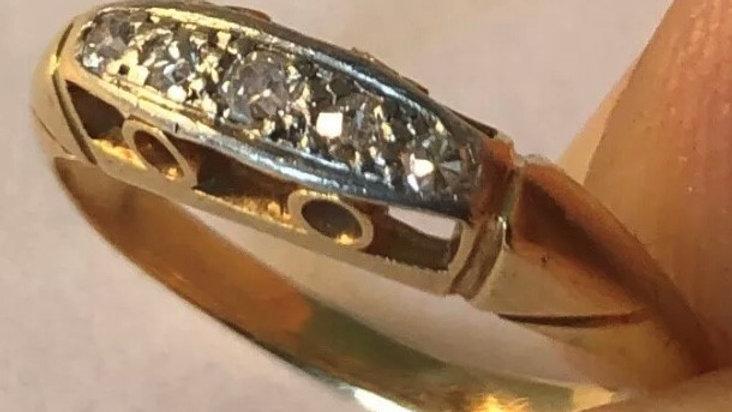 Antique 18ct Gold Platinum Diamond Ring. 1920s.