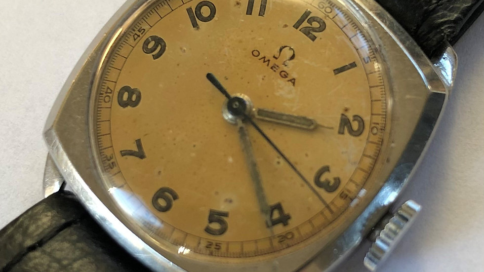 OMEGA WW2 c1943 steel Cushion military style dial watch. Pre-owned