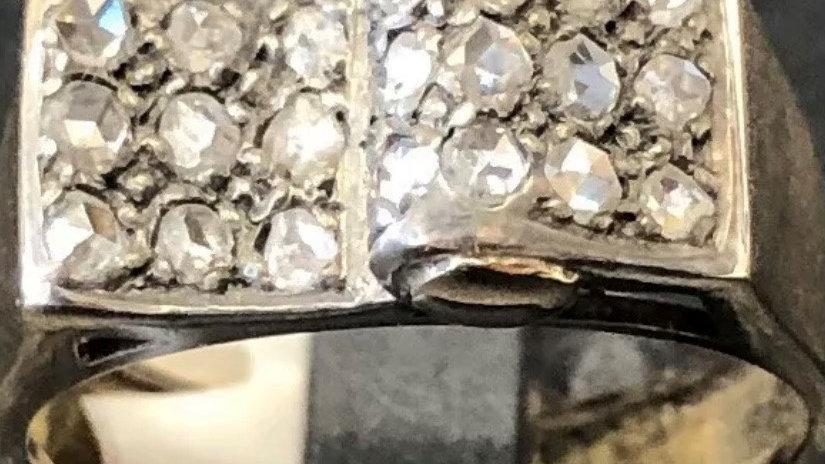 Antique Art Deco 14ct Gold Diamond Set Wave Ring. c1930.