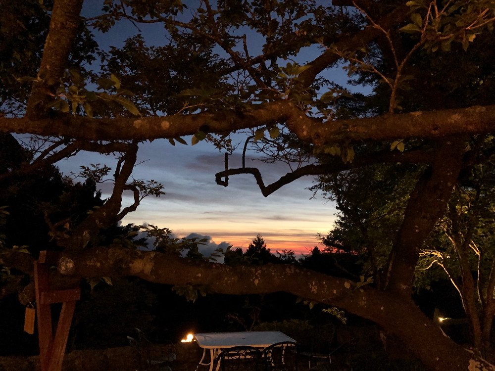 View of the Alishan sunset from the Sing Tong Outdoor Coffee Shop