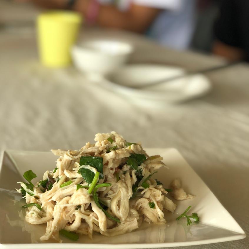 Fermented bamboo with chicken, spicy powder, taro stem, peanut
