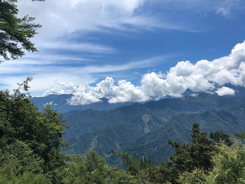 View of Alishan's mountain range during daytime from the popular Zhushan Viewing Platform 祝山觀景台