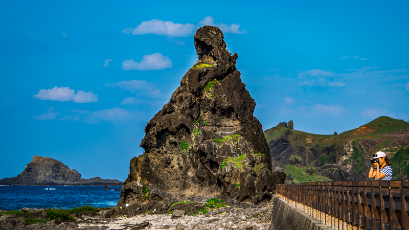 A rock resembling a general wearing a steel helmet in Green Island